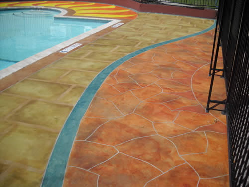 pool deck colored with Smith Stain