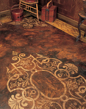 acid stained floor with Modello Stencil