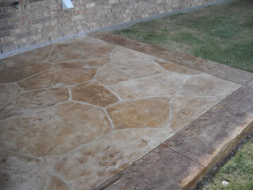 thin stamped overlay hand-cut flagstone